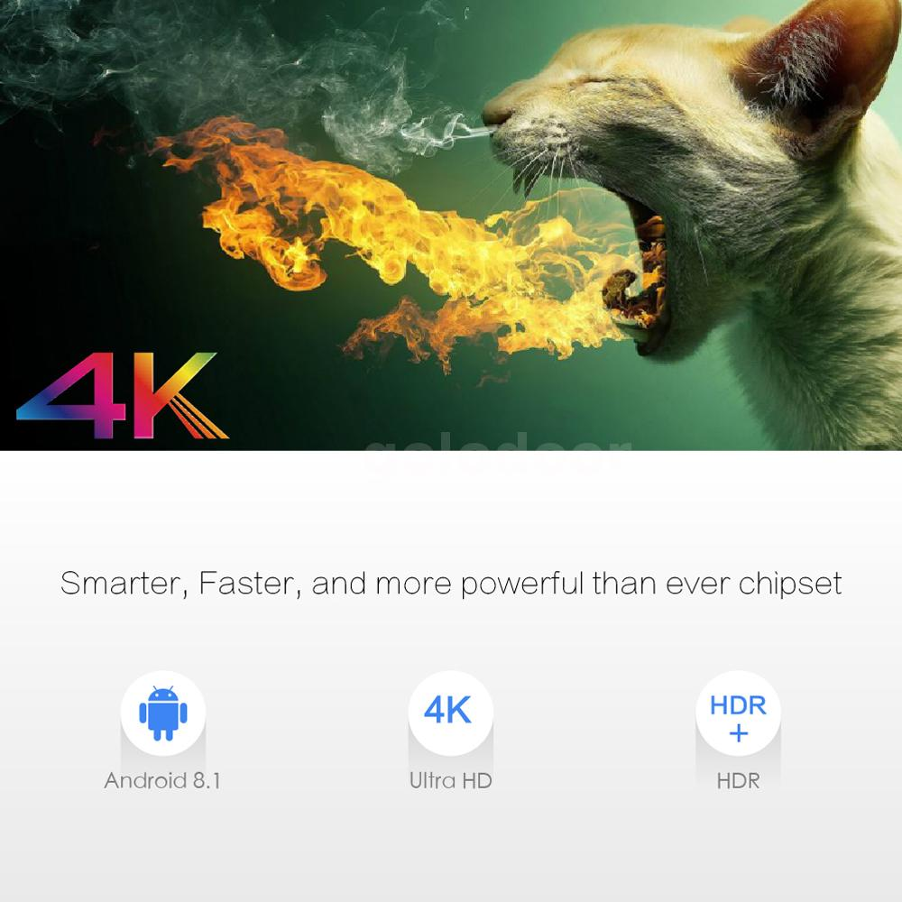 X96 MAX Android 8.1 S905X2 Quad Core TV Box Dual WiFi 4K Media Player 2//16G H9T3
